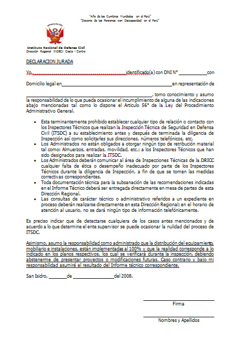 para solicitar Certificado de Seguridad en Defensa Civil - Lima, Perú